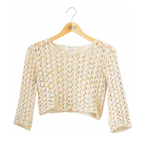 90s crochet crop top, cut out cropped sweater, beige cream... ($34) ❤ liked on Polyvore featuring tops, shirts, crop tops, crochet sleeve top, colorful crop tops, boho shirts, flat top and boho tops