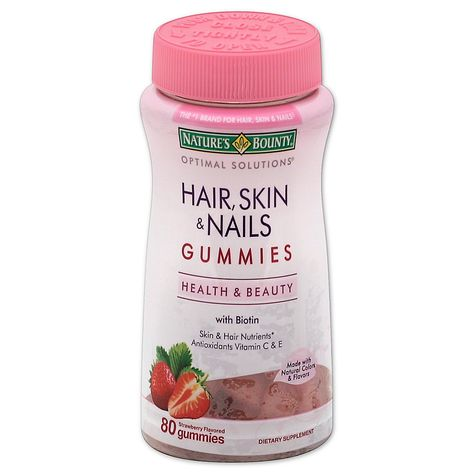 Nature's Bounty Optimal Solutions Hair, Skin and Nails Gummies contains just the right balance of nutrients to support lustrous hair, healthy nails and vibrant skin, all in a delicious strawberry flavored gummy. Hair Skin Nails Gummies, Vitamin C Serum Benefits, Vitamin B12, Vitamin C For Face, Cranberry Vitamins, Best Prenatal Vitamins, Antioxidant Vitamins, Nutrilite Vitamins, Beauty Products