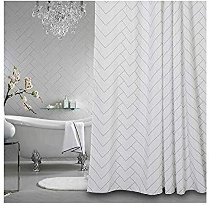 Amazon Com Aimjerry Hotel Quality White Striped Mold Resistant Fabric Shower Curtain For Bathr Cool Shower Curtains Bathroom Shower Curtains Bathroom Curtains