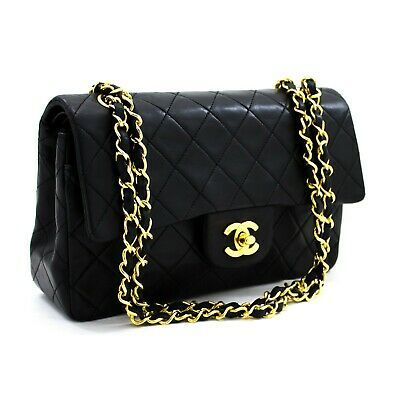Ebay Ad Y16 Chanel Authentic 2 55 Double Flap 9 Chain Shoulder Bag Black Lambskin Purse In 2020 Chain Shoulder Bag Black Cross Body Bag Chanel Mini Square