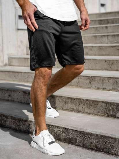 Czarne Dresowe Krotkie Spodenki Meskie Denley Dk08 In 2020 Gym Men Mens Denim Short Mens Gym Short