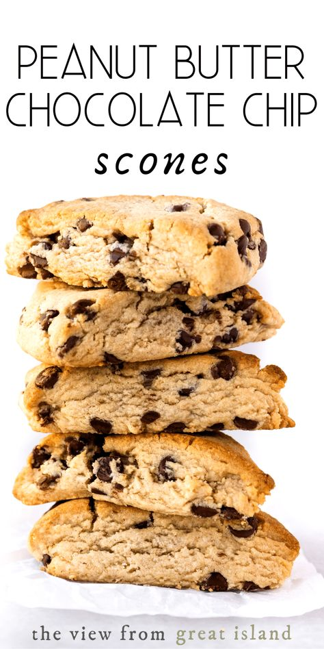Peanut Butter Chocolate Chip Scones ~ flakey breakfast or tea time pastries made with creamy peanut butter and loaded with milk chocolate chips! #easy #recipe #best #fromscratch #chocolatechip #tea #afternoontea #hightea #moist #chocolate #peanutbutter