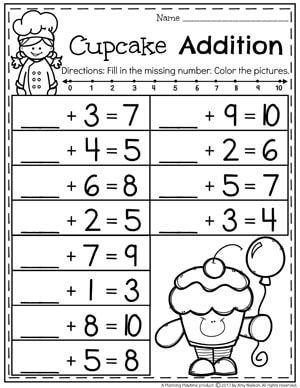 Fill In The Missing Number Addition Worksheet For Kindergarten