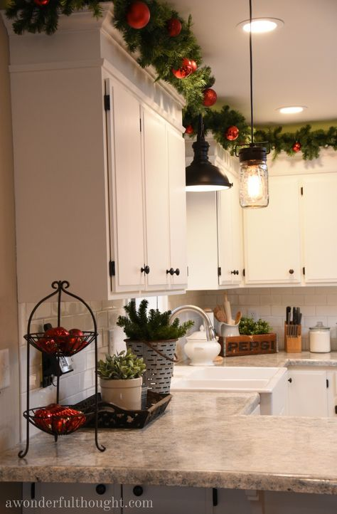 Christmas Home Tour 2016 {Part – A Wonderful Thought – christmas decorations Rustic Christmas, Christmas Home, Christmas Holidays, Christmas Decor For Kitchen, Christmas Mantels, Christmas Christmas, Silver Christmas, Christmas Villages, Victorian Christmas