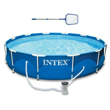 Intex 12ft X 30in Metal Frame Above Ground Swimming Pool Filter Skimmer Walmart Com Above Ground Swimming Pools In Ground Pools Swimming Pools