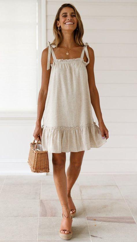 Caris Beige Casual Babydoll Dress - Vestidos, saias e outros - Dress