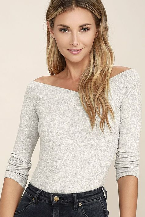 b0c42ec5763208 The Feeling Free Heather Grey Off-the-Shoulder Top will make you want to  get up close and cozy! Soft and stretchy ribbed knit shapes an off-the- shoulder ...
