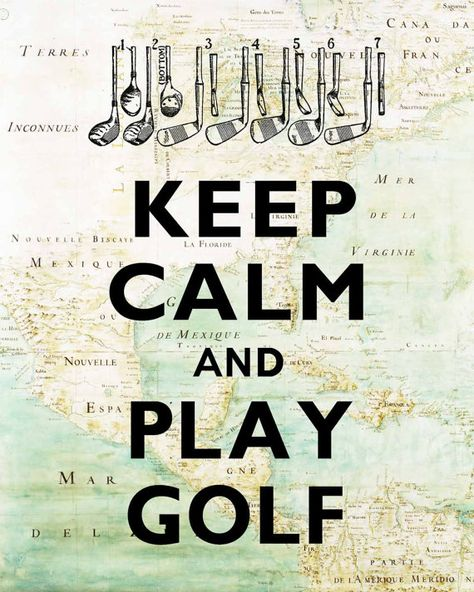 Keep calm and play golf  Print  on old map of East by DigiMarthe, $11.00
