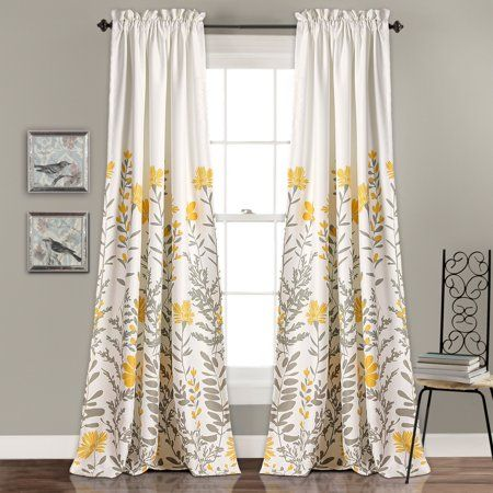 Aprile Room Darkening Window Curtain Yellow Gray Set 52 X 84