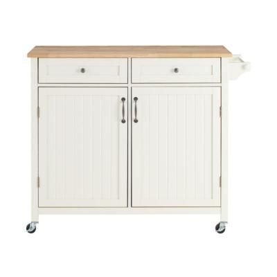 Stylewell Bainport Ivory Wood Kitchen Island With Natural Butcher Block Top 44 25 In W X 36 In H Ivory With B In 2020 Ivory Kitchen Kitchen Cart Butcher Block Top