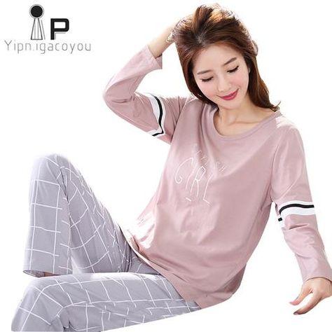 Pyjamas Women 2018 Autumn Long sleeve Cotton Home clothes women night suit  Two Piece plus size Sleepwear Ladies Pajamas Set 5XL 1d0e043bb