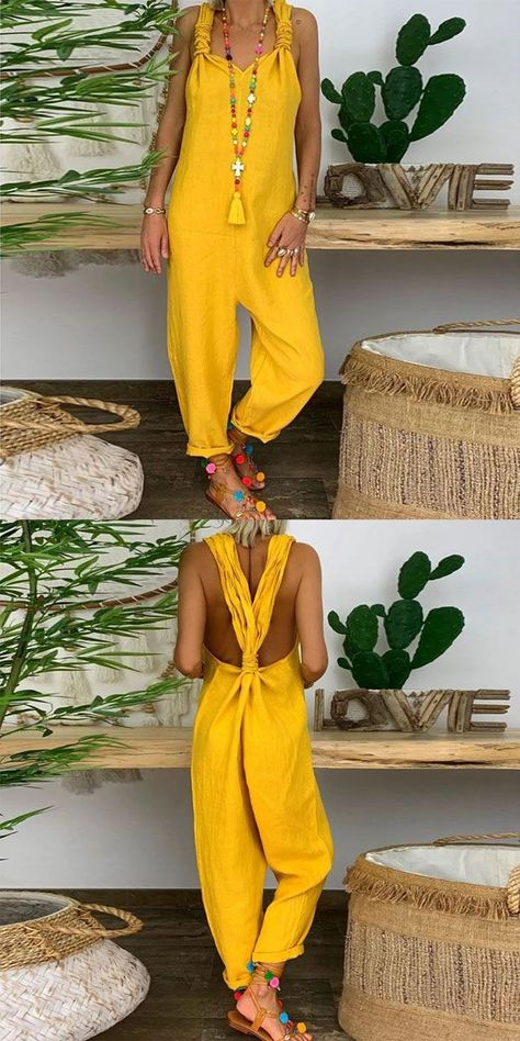 Casual Jumpsuit #casualjumpsuit Casual pure colour v neck sleeveless loose jumpsuit, various style&color for you, free shipping on order $69, shop now! #women #jumpsuit #casual #yellow