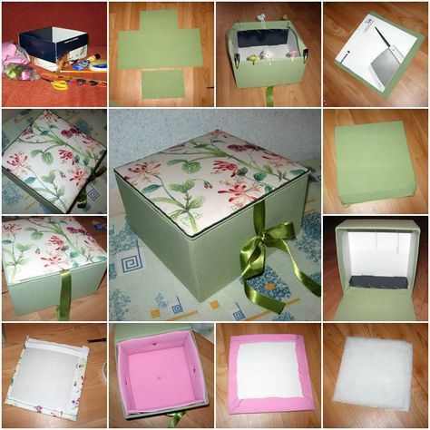 How to make Beautiful Cardboard Textile storage Box step by step DIY tutorial instructions, How to, how to do, diy instructions, crafts, do it yourself, diy website, art project ideas