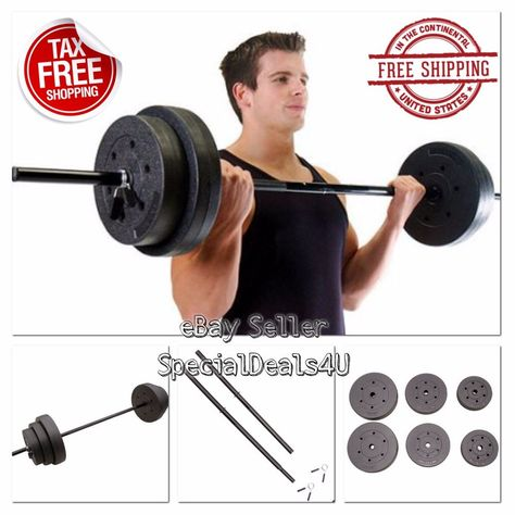 GOLDS GYM WEIGHTS 100 LBS Lifting Barbell Exercise Plates Dumbbells Set Workout