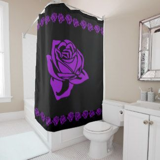 Purple Rose And Black Shower Curtain Black Shower Curtains