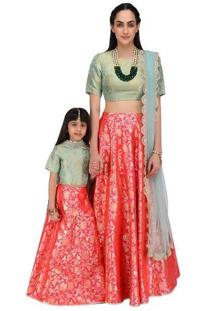 Amazing Red And Rama Green Mother Daughter Lehenga Choli Light