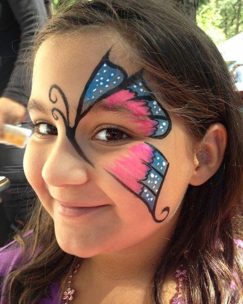 Schmetterling Auge Make Up Kinderschminken So Kann Man Auch Bei Einem Symmetrischen Schmetterling D Kinder Schminken Kinderschminken Halloween Schminken Kinder