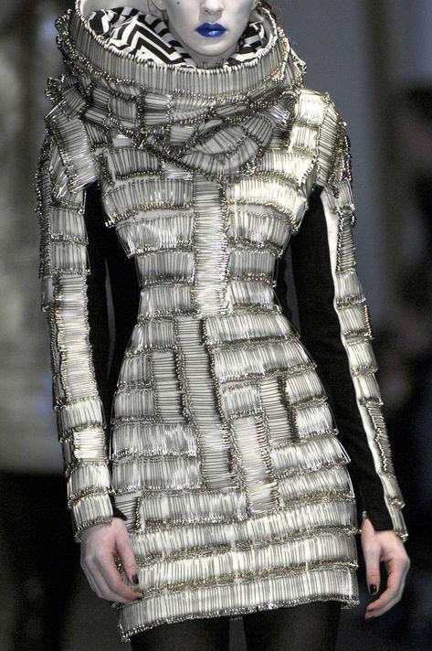 safety pin dress by Gareth Pugh at London Fashion Week Fall 2008