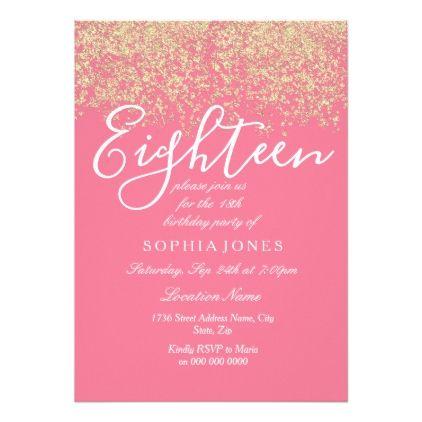 Pink Gold Glitter Confetti 18th Birthday Party Invitation Zazzle