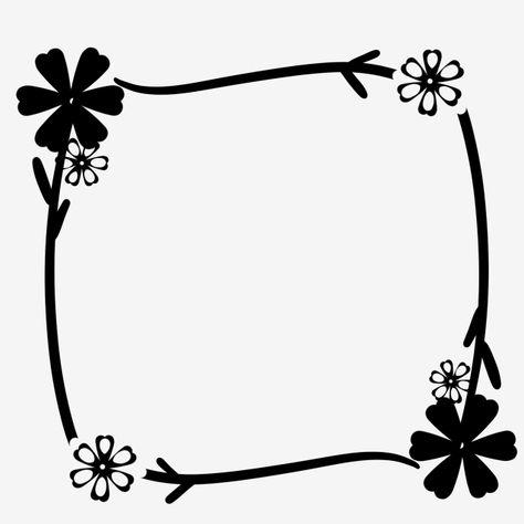Black And White Flower Border Plant Border Floral Square Border Png Transparent Clipart Image And Psd File For Free Download Flower Border Flower Line Drawings Flower Border Png