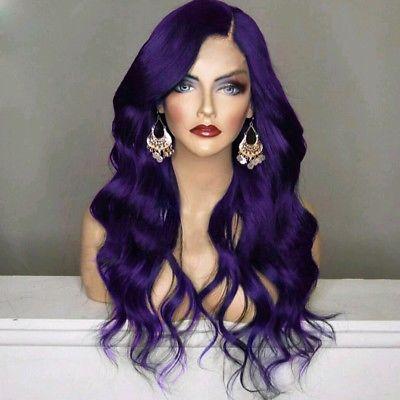 Woman Cosplay Purple /& Black Wavy Full Hair Wig