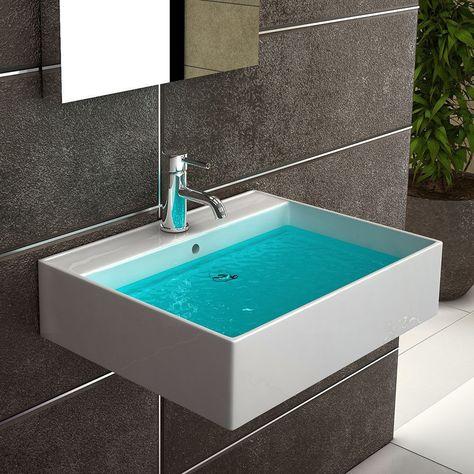 Handwaschbecken Weiss Keramik Waschtisch Bad Kuche Eckig