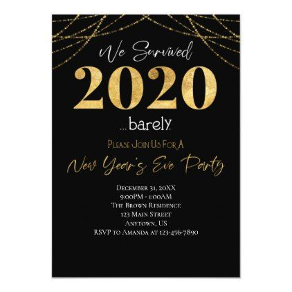 We Survived 2020 New Year S 2021 Invitation Zazzle Com In 2021 New Years Party Themes Custom Holiday Card Work Party Favor