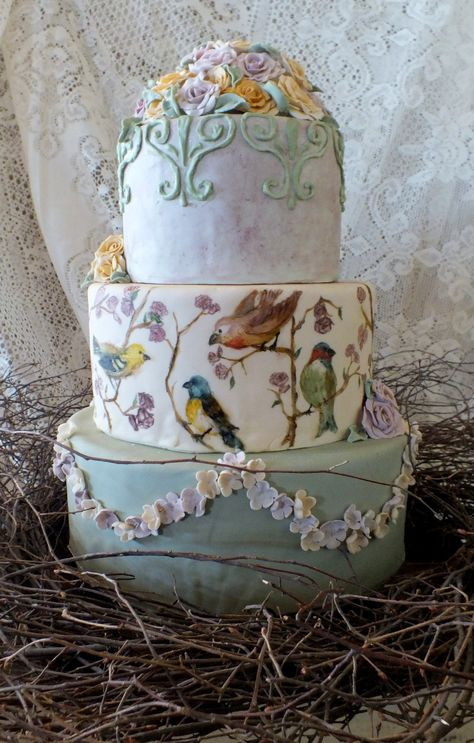 Vintage birds cake. All edible except the twig wreath around the bottom.
