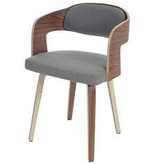 Besucherstuhl Gola, Esszimmerstuhl Stuhl, Holz Bugholz Retro Design ~  Textil Grau