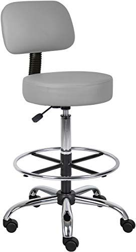 New Boss Office Products Drafting Stool Back Cushion Grey Online Findthetoppopular In 2020 Stools With Backs Used Office Chairs Drafting Chair