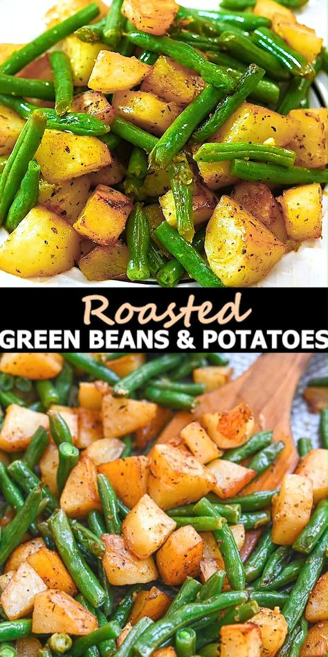 These Roasted Green Beans and Potatoes will make a great addition to your dinner table. Simple and delicious, it's the perfect side to add to any meal. FOLLOW Cooktoria for more deliciousness! #greenbeans #potatoes #vegetarian #vegan #sidedish #lunch #dinner #recipeoftheday