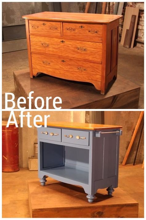 A Traditional Piece of Furniture Becomes a Cottage Kitchen Island