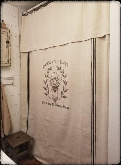 Grain Sack Curtain Farmhouse Curtain Shower Curtain Drop Cloth Curtain Drop Cloth Shower Curtain Primitive Bathrooms Grain Sack Antique Cupboard