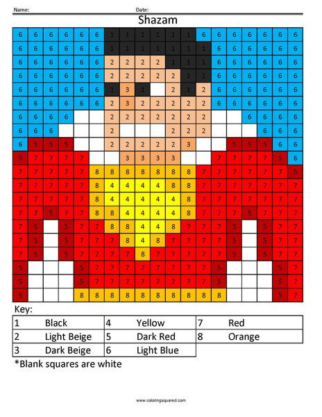 Shazam Coloring Page Coloring Squared Coloring Pages Superhero Color By Numbers