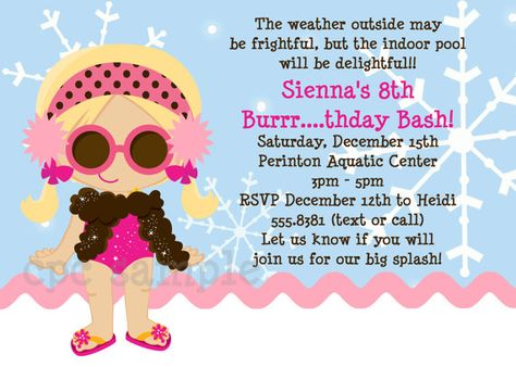 Girl Winter Pool Party Invitations Printable Or Printed Birthday Party Ideas Pool Party Birthday Invitations Pool Party Invitations Birthday Party Design