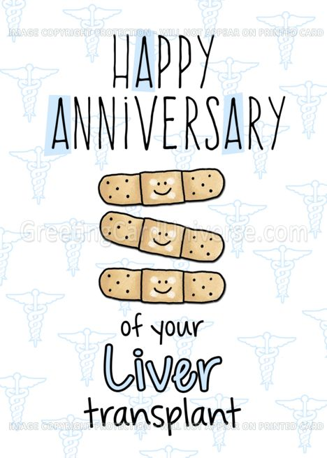 Cute Bandages Happy Anniversary Liver Transplant Card Happy