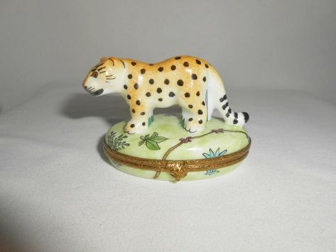 Limoges Box, Leopard, Limoges Miniature, Limoges Porcelain, Home Decor, French Porcelain, Gifts, Hand Painted, African Animals