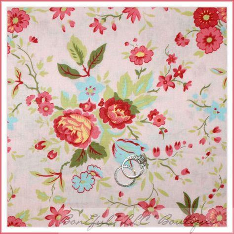 BonEful FABRIC FQ Cotton Quilt Cream Pink Green Leaf Wild Flower Meadow Cottage