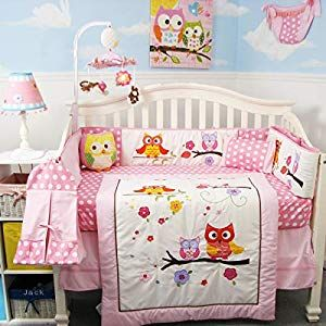 Soho Baby Crib 10pc Bedding Set Pink Owl Nursery Bedding Sets Baby Cribs Baby Owl Nursery