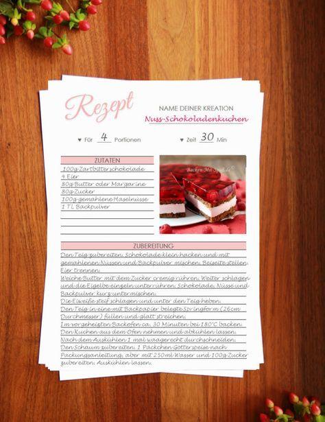 Rezeptvorlage Zum Drucken Printable Recipe Template Kochbuch Selber Drucken Backrezepte Kochrezepte Downloaden Food Printables Recipe Template Recipe Cards