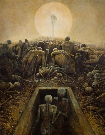 Museum Of Macabre Art — Zdzislaw Beksinski Bez tytułu, 1970 Oil on. Arte Horror, Horror Art, Surealism Art, Francisco Goya, Digital Art Gallery, Dark Art Drawings, Macabre Art, Occult Art, Creepy Art