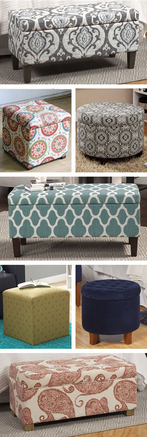ottoman for living room%0A White Accent Ottoman Footstool with Storage Compartment Bedroom Decor New