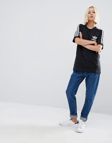9eb420db42e75 35 adidas Originals Adicolour Boyfriend T-Shirt With 3 Stripe