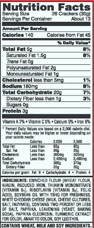 Cheez It Scrabble Junior Crackers Inside Nutrition Label For Cheez Its22671 Cereal Nutrition Label Nutrition Labels Ingredient Labels