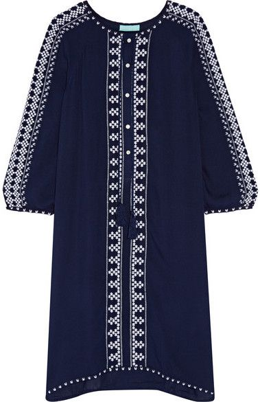 Melissa Odabash - Sophia Embroidered Voile Kaftan - Navy - Melissa Odabash's bohemian-inspired 'Sophia' kaftan is an effortless way to cover up post-beach. Crafted from airy voile that's perfect for balmy climates, this navy design is detailed with intricate white embroidery and playful fringed tassels. Slip it on over your favorite bikini. Wear it with: Valia Gabriel Sandals, Self-Portrait Sunglasses, Aurélie Bidermann Bracelet. -- Navy voile- Button fastenings along front- 100% viscose…