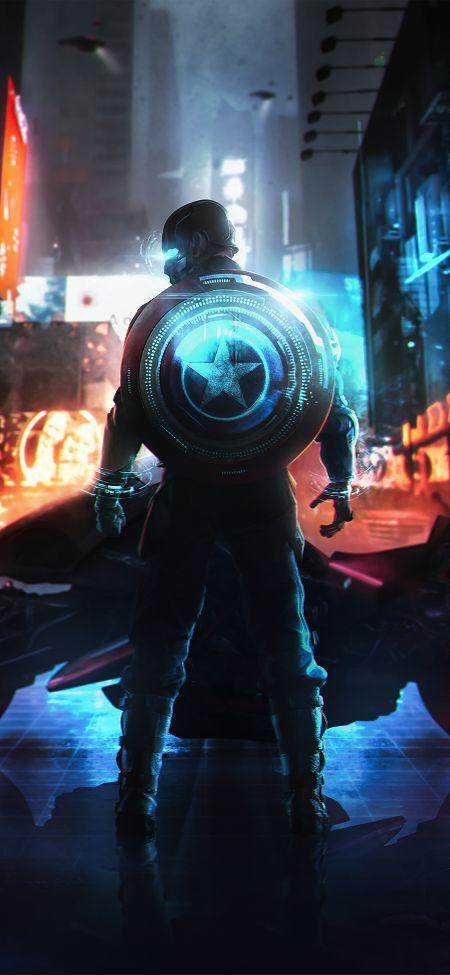 Cyber Captain America Wallpaper - iPhone X