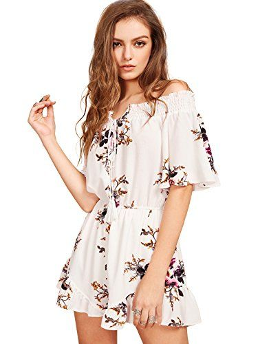 Fllay Womens Stylish Strapless Short Bell Sleeve Floral Print Romper Jumpsuits