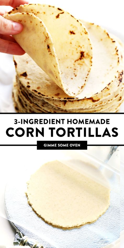 This homemade corn tortilla recipe is easy to make with 3 ingredients and yields the most delicious, soft, foldable, and naturally gluten-free corn to Corn Tortilla Recipes, Healthy Tortilla, Maseca Corn Tortilla Recipe, Tortilla Bread, Tortilla Wraps, Tortillas Sans Gluten, Gluten Free Tortilla Chips, Kitchen Recipes, Cooking Recipes