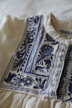 Folk Embroidery Ideas Blue embroidery on white