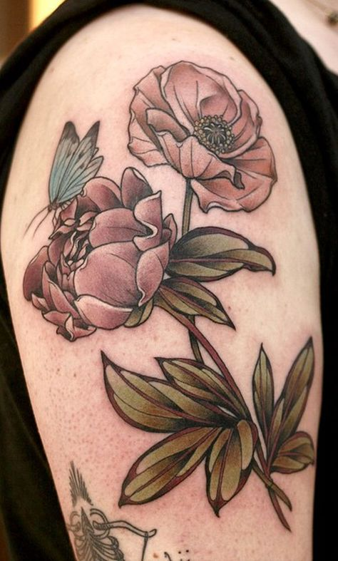 Peony, poppy, butterfly, Kirsten Holliday, Wonderland, Portland, OR